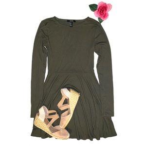 f21 ls olive skater dress